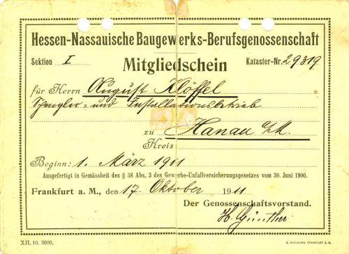 Klöffel Hessen-Nassauische Baugewerks-Berufsgenossenschaft